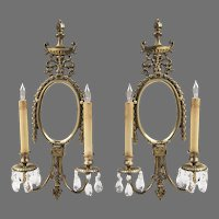 Pair of Early 20th Century Louis XV Style Brass Sconces, Oval Mirrors