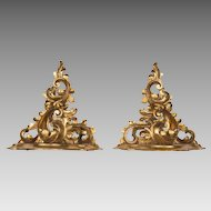 Pr. of Late 19th C. Rococo Wood Carved Gilt Wall Brackets