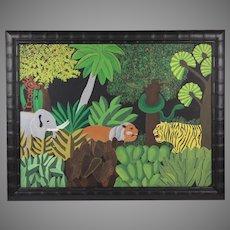 School of Ellis Ruley American Outsider Folk Art Oil Painting