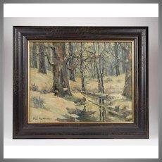 Winter Landscape Oil On Canvas, Paul Bettinger