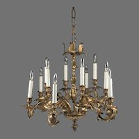 Late 19th C. Rococo Style French Ormolu 12 Light Chandelier