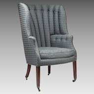 19th C. English Georgian Barrel Back Library Wing Chair