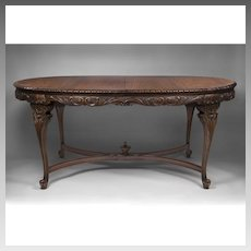 Carved French Louis XV Style Dining Room Table With Four Leaves