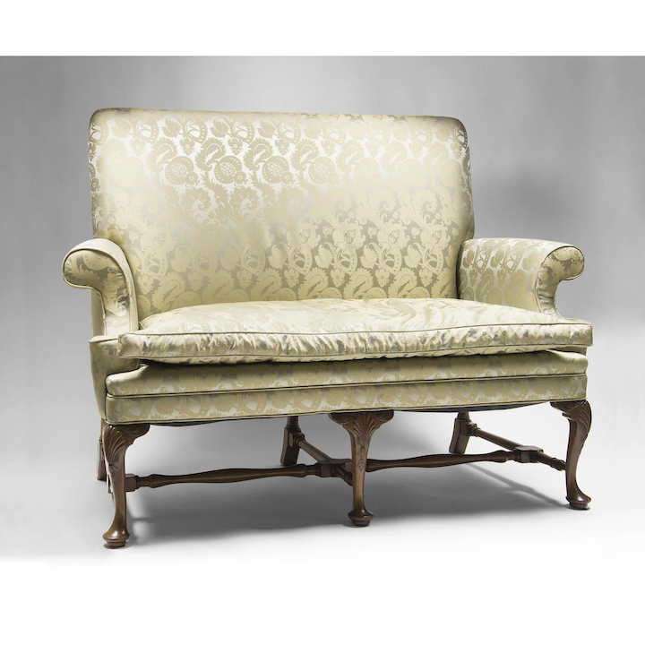 Terrific 19Th C Queen Anne Style Highback Hall Settee Ncnpc Chair Design For Home Ncnpcorg