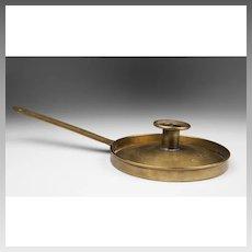 18th C. Dutch Sheet Brass Frying Pan Chamberstick