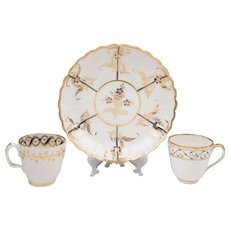 Early 19th C. English Worcester & Derby Tea Cups & Saucer