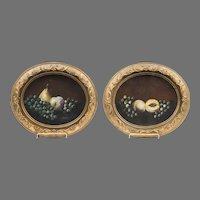 Pair of 19th C. Victorian Sandpaper Still Life Pastels
