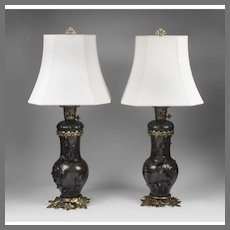 Pair of  Late 19th C. Japanese Patinated Bronze Vases Mounted As Lamps