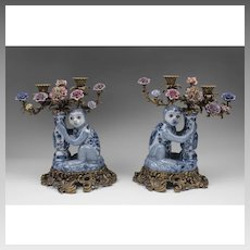 Pair of 20th C. Porcelain and Bronze Candelabras Mounted With Monkeys And Flowers