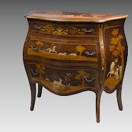 19th C. Intarsia Marquetry And Bone Inlaid German Commode