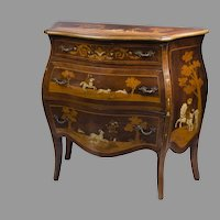 19th C. Intarsia Marquetry Inlaid German Commode