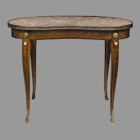 Art Nouveau Bronze & Marble Kidney Shaped Side Or Coffee Table