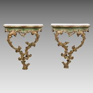 Pair of 19th Century Venetian Rococo Polychrome and Gilt Carved Consoles