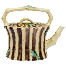 19th C. Wedgwood Majolica Cane Teapot With Lid