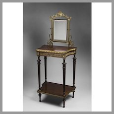 Late 19th C. French Louis XVI Style Vanity Table with Bronze Mirror