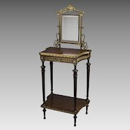 Bronze Mounted Walnut French Vanity with Mirror