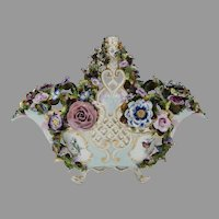 19th C. Meissen Reticulated Flower Encrusted Porcelain Basket