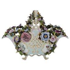 19th C. Meissen Reticulated Flower Encrusted Porcelain Basket