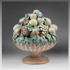 Italian Terracotta Glazed Centerpiece Urn Filled With Fruit