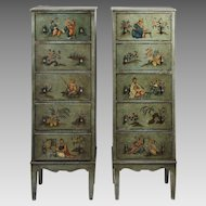Pr. Of Vintage Chinoiserie Painted Italian Stacked Chests
