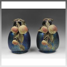 Pair of Teplitz Amphora Fruit Laden Vases, Iridescent Glaze