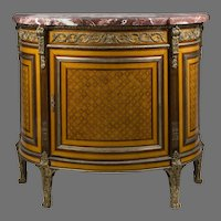 Early 20th C. French Marquetry Demilune Cabinet Mounted in Bronze
