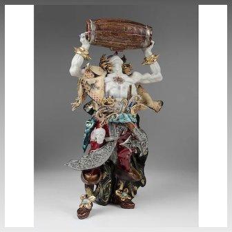 Eugenio Pattarino Glazed Terracotta Figure Of Swashbuckling Pirate