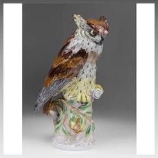 Dresden Porcelain Figurine Of Owl