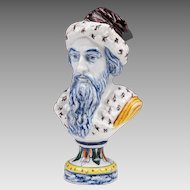 Early Delft Ware Faience Bust of Gentleman On Socle Base