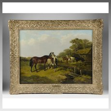 Follower of J. F. Herring, Horses by Pasture Stream, 19th Century Oil on Canvas