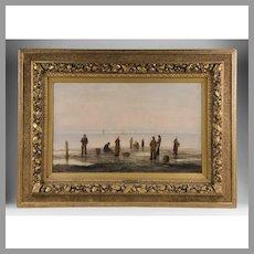 19th Century Oil on Panel, Fishing Scene, A. Vescovi