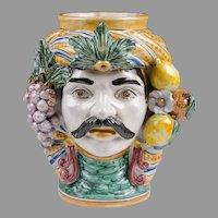 Caltagirone Sicilian Majolica Moor's Head Sculpture