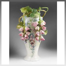 Rare Italian Mollica Barbotine Style Vase With Applied Flowers