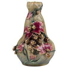 Riessner Amphora Turn Teplitz Floral Encrusted Vase
