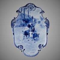 1905 Blue Delft Plaque With Cattle, after Willem Roelofs