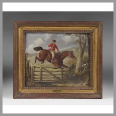 English OIl on Board of Horse and Rider, Signed H.S. Cottrell