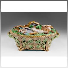 19th C. Minton Majolica Game Pie Dish