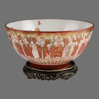 Meiji Period Kutani Center Bowl, Thousand Scholars