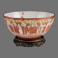 Meiji Period Kutani Center Bowl, Thousand Scholars