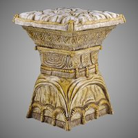Tufted Pillow Top Form Majolica Seat Or Stool