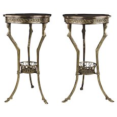 Pair of Mid 20th C. French Inlaid Side Tables, Bronze Bases