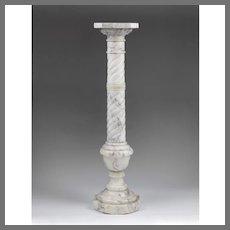 Early 20th C. Twisted Column White Carrera Italian Marble Pedestal
