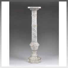 Early 20th C. Twisted Column White Carrera Italian Marble Pedestal