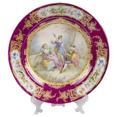 Late 19th C. Hand Painted Charger, After Sevres