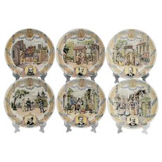 Set of Six French Sarreguemines Composer Plates
