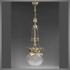 Early 20th C. French Pendant Chandelier With Cut Crystal Globe