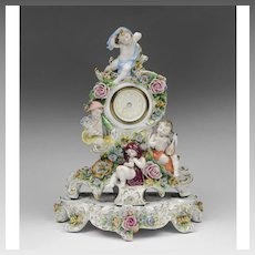 Early 20th C. Sitzendorf Dresden Porcelain Clock With Stand
