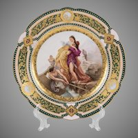 Rudolstadt Hand Painted Cabinet Plate, Royal Vienna Style