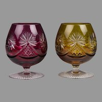 Pair of Nachtmann Glass Brandy Snifters, Colored Pinwheel Pattern