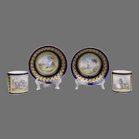 Pair of 18th C. Sevres Scenic Jeweled Cups & Saucers